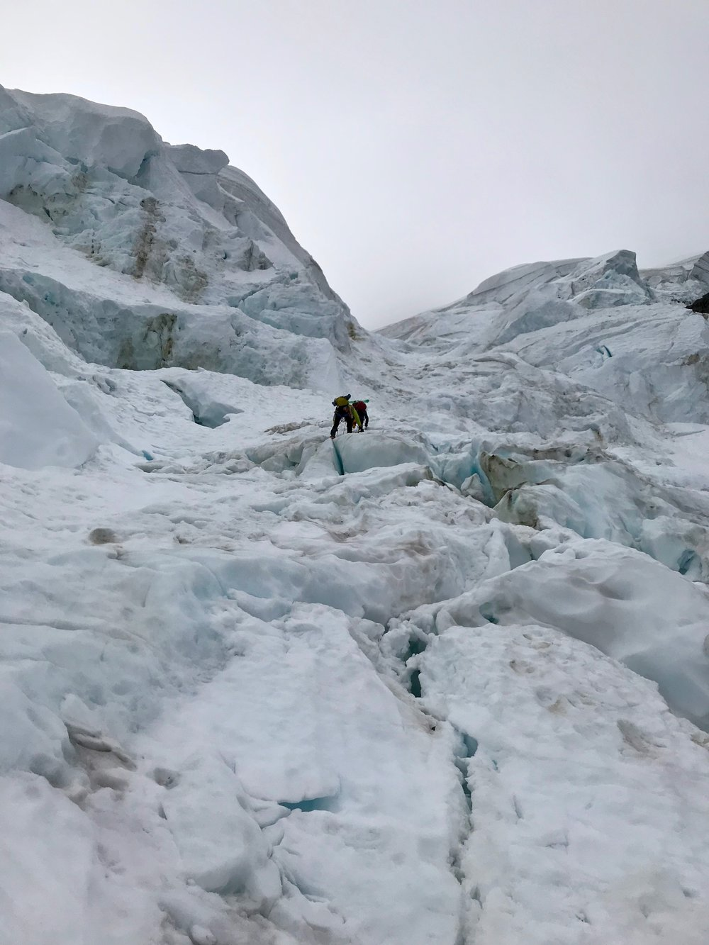 Going through the ice gully