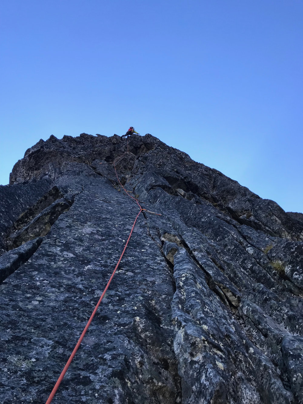 Leading the crux pitch