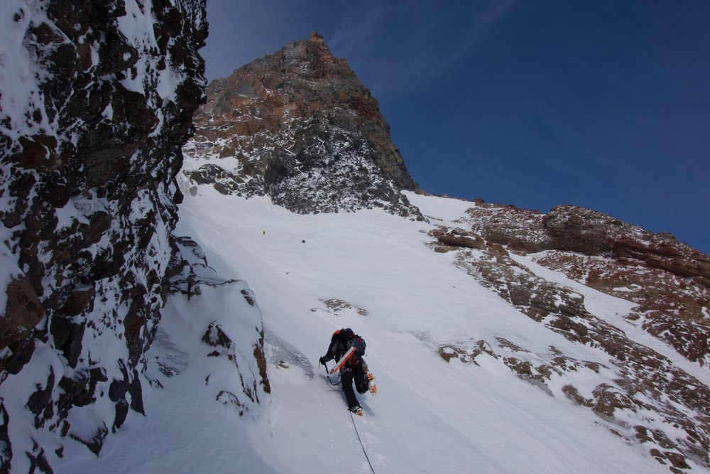 Goran sets off for some ice in the gully entrance