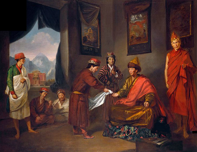 The Third Panchen Lama Receives George Bogle at Tashilhunpo, oil painting. Artist: Tilly Kettle, c. 1775.  Source: Wikimedia Commons : Public Domain