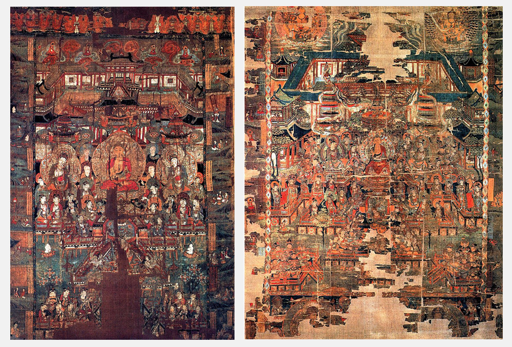 à gauche : Anonymous: Baoen Sutra, Paradise 2–  å droite : Anonymous: Paradise of Bhaishajyaguru. Wikimedia Commons : Public Domain.  Location: British Museum