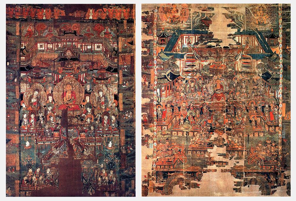 à gauche : Anonymous: Baoen Sutra, Paradise 2– å droite : Anonymous: Paradise of Bhaishajyaguru. Wikimedia Commons : Public Domain. Location: British Museum