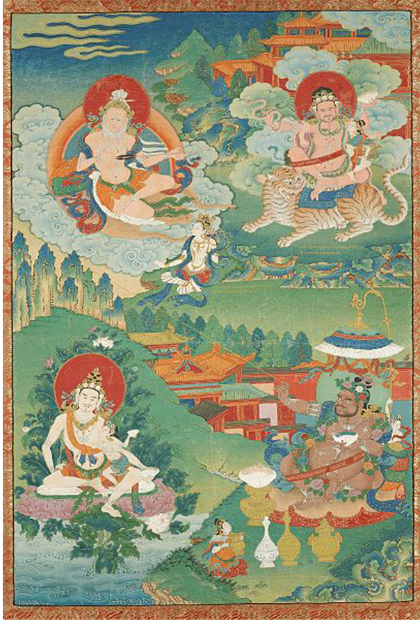 Tibet L'est  : Indian Adept (siddha) - (multiple figures), 18th century. Source: Boston MFA.