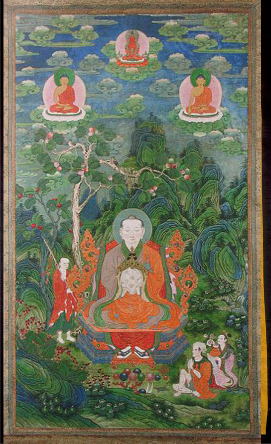 Thangka Chinois  :  Arhat Rahula China; Quanlong period (1736 - 1795). Source: Rubin Museum