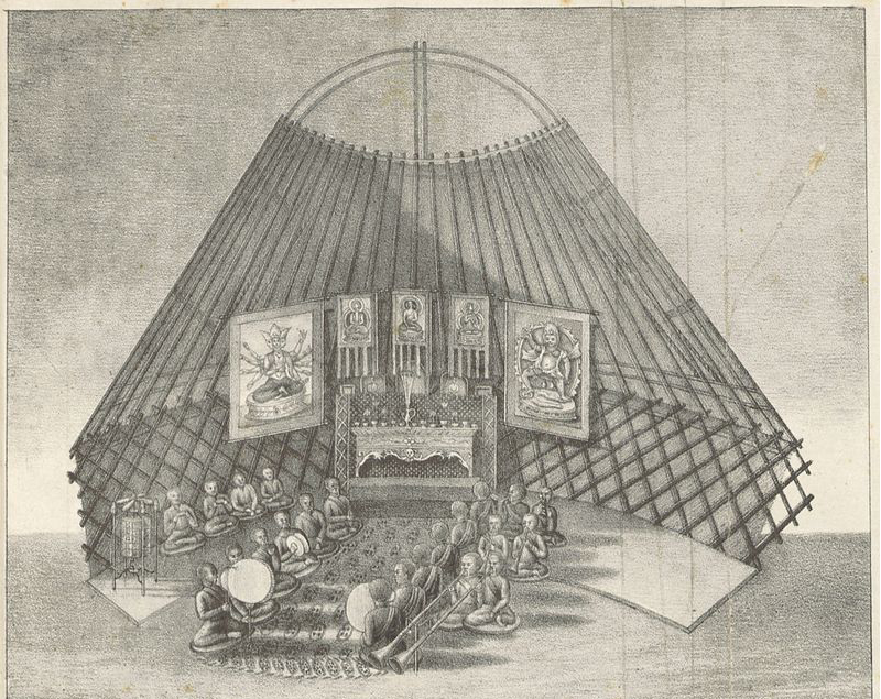 NEVEDJEV(1833) p307 Kalmyk people in a buddhist ceremonie. Source: Wikimedia Commons