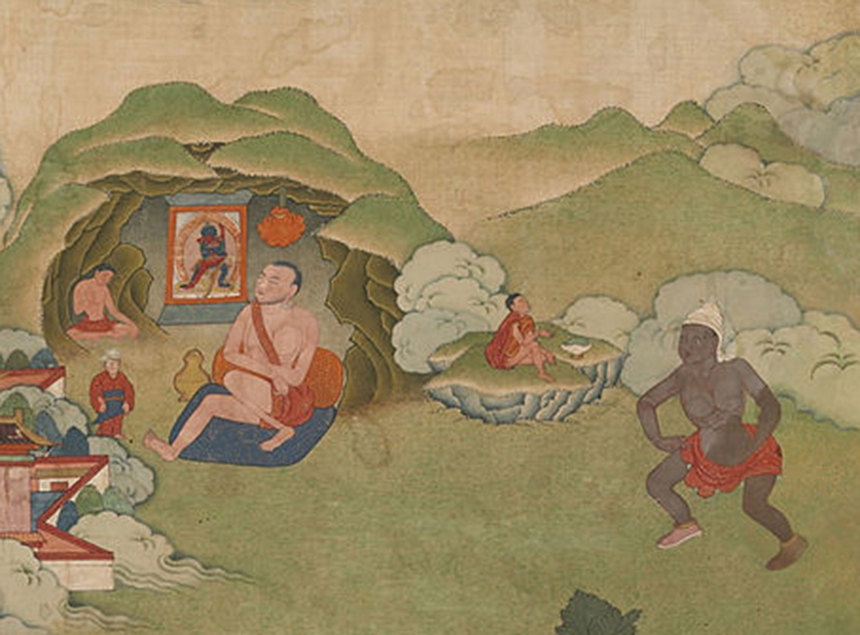 Détail - Eight Mahasiddhas 18th century. Source: Wikimedia Commons