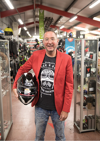 """FIG. 3.  """"Our money is better invested in expanding our range of motorbikes, or on hiring new staff,"""" said Bikeworld's Griffin, explaining his decision to avoid capital outlays on his new UrbanVolt lighting. Photo credit: UrbanVolt."""