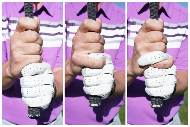 From left to right: Ten Finger Grip, Overlap Grip, Interlocking Grip