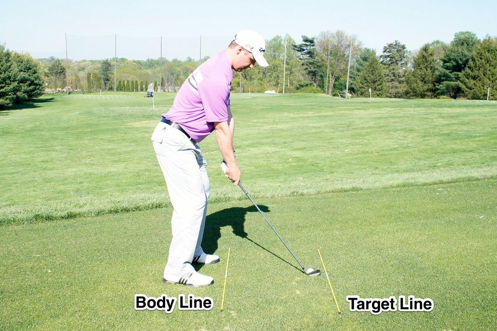 For best aim, the Body Line is always parellel to the Target Line.