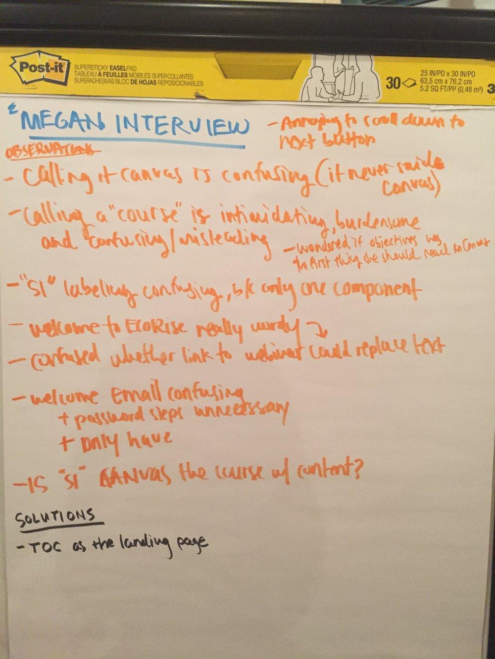 Observations from teacher interview