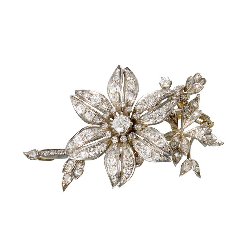 An antique diamond and silver-topped corsage brooch, circa 1870