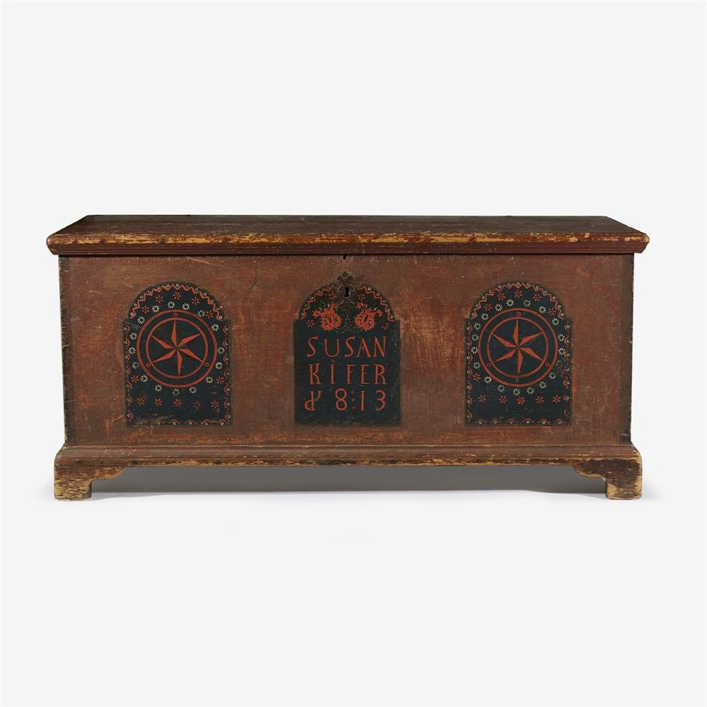 Painted, stenciled and stamp-decorated blanket chest , dated 1813