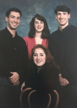 I was probably on at least 40mg of prednisone when this photo was taken. I can't remember the year but I was definitely in college so early 90s. My siblings and I used to go to the mall and get these cheesy photos taken for our parents. That's my older brother, Andy on the left, my sister Laura and my brother Rick on the right. Aren't they cute?