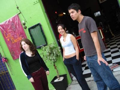 Outside of their shop, Cafe Brecho with Fabi and a friend.