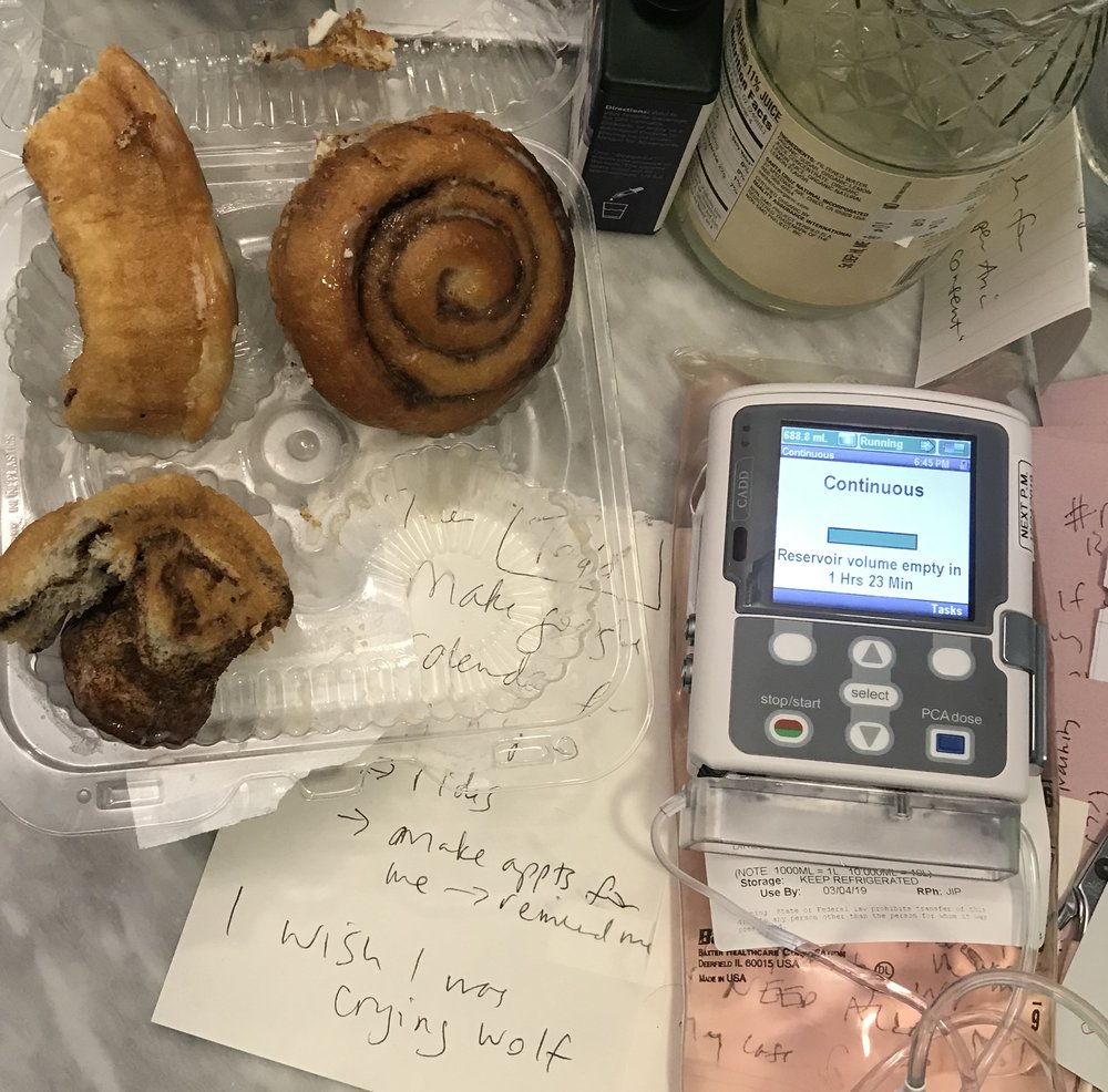 I just took this photo on my bathroom counter. i licked the frosting off the rolls. and I'm giving myself IV bag. those are all my notes to myself.