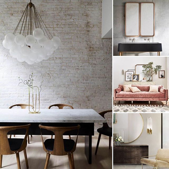 Cool, calm and collected. These spaces are chic and sophisticated with a hint of the industrial. That blush pink sofa from @anthropologie 😱💕 #diningtable #interior_design #interiordesigner #diningroomdecor #diningroomlighting #livingroomdecor #livingroom #bathroomdecor #bathroomdesign #interiordesign images via Pinterest