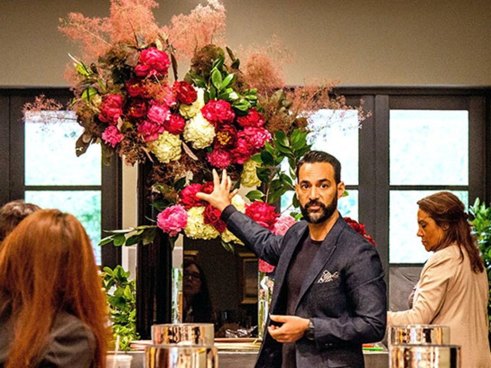 Floral designer Oscar Mora at FlowerSchool New York. -