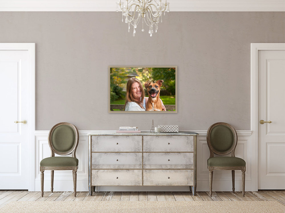 With a photograph of your room, you will be able to pre-vizualize a single portrait or a group of wall art portraits that best suits your space. No more guessing what size looks best or how a particular arrangement might look in your home.