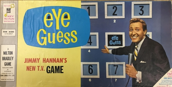 """Eye Guess"" Board Game - Eye Guess - Jimmy Hannan's New TV Game, Australia c. 1996 was based on the series/game from the United States of America. The game is complete and includes instructions."