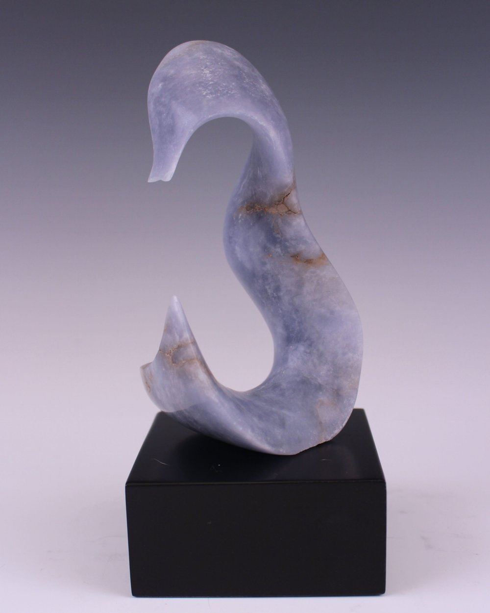 """Seahorse"" Italian Blue Ice Alabaster on Lacquered Wood Base"