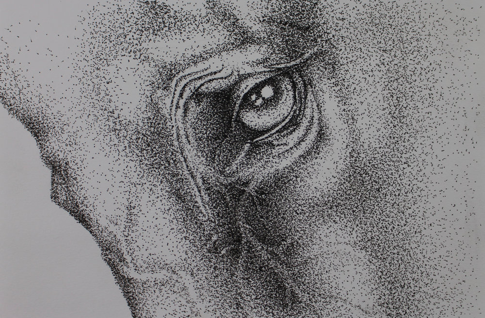 """Compassion"" - 8"" x 5.5"" stippled ink on paper."