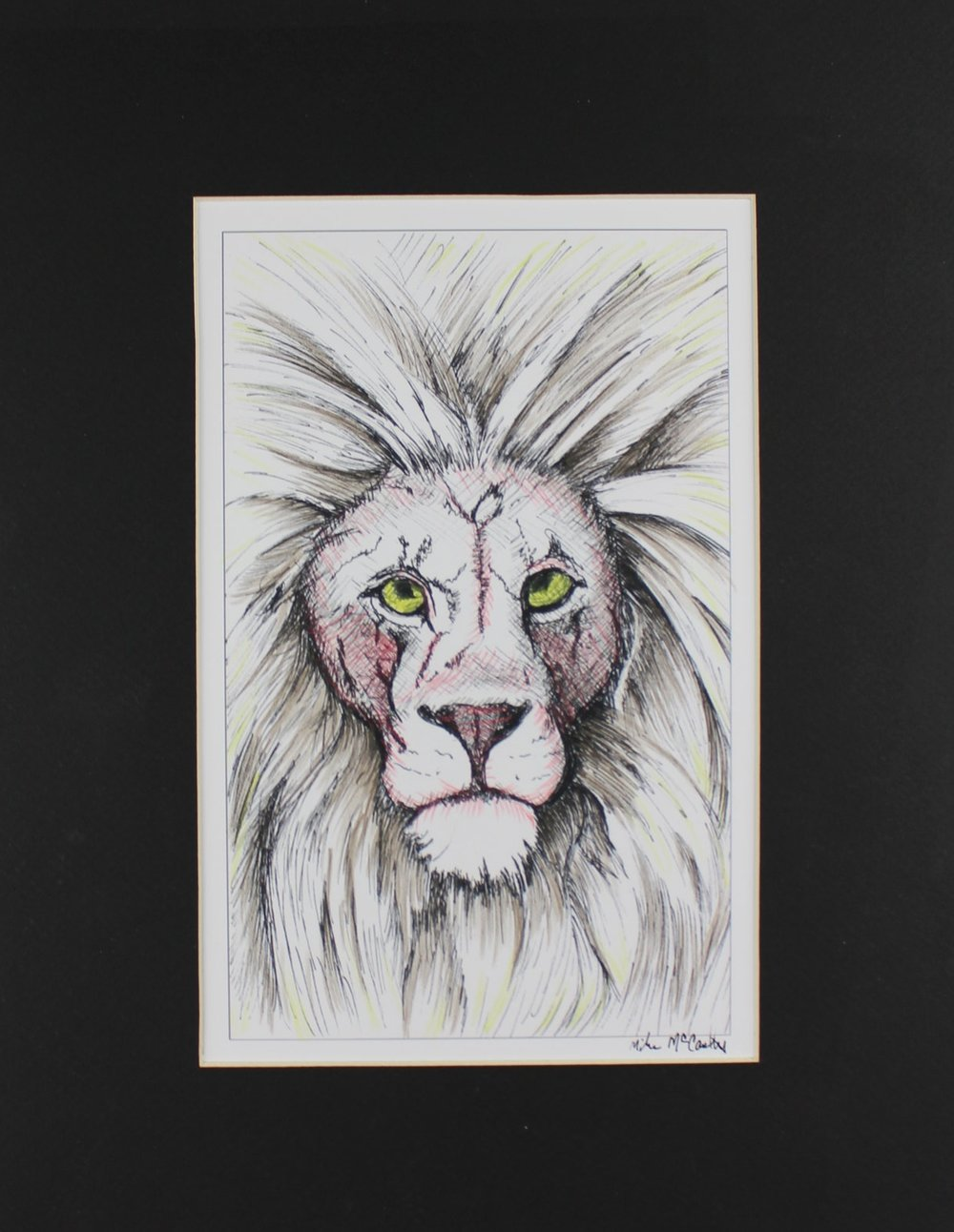 """Lion Head"" Hand Colored Giclee mounted in Black Matt"