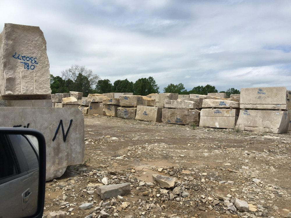 "Picking out stone for ""Cor Liberum"" at the Indiana Limestone Quarry"