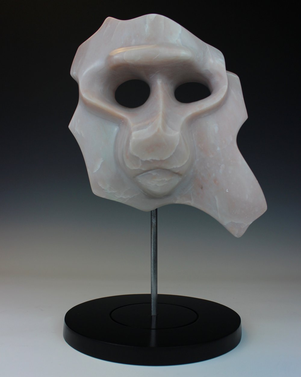 """Baboon Mask"" - 10""w x 9""d x 14""t -  Contemporary Soapstone Sculpture"