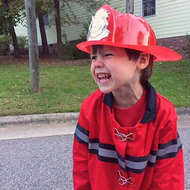 Happy Halloween from our happy little firefighter! 🎃👻