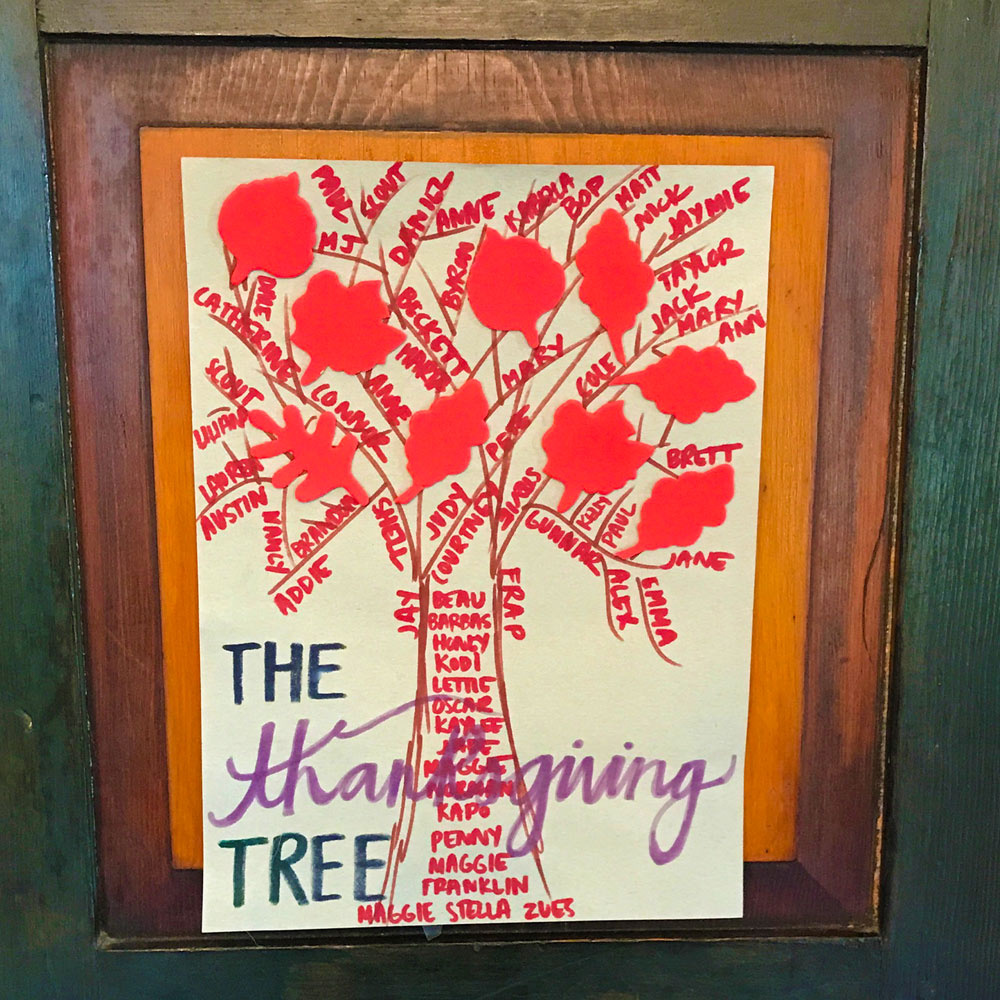 """This """"Thanksgiving Tree"""" is a little crafted keepsake to remind us of the Thanksgiving memories we've shared at the farm."""