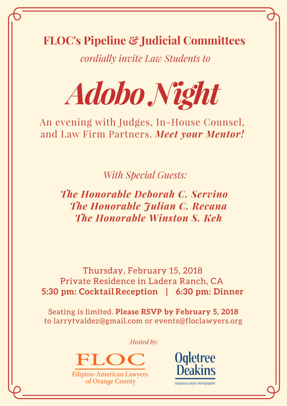 Filipino-American Lawyers of Orange County Upcoming Events