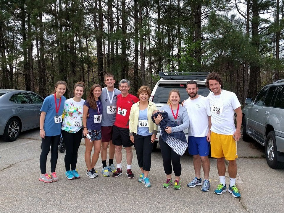 For my Dad's 60th birthday, every member in my family participated in either the 5k or 10k Gwinnett Life Run (ages 60 all the way down to 3 months)