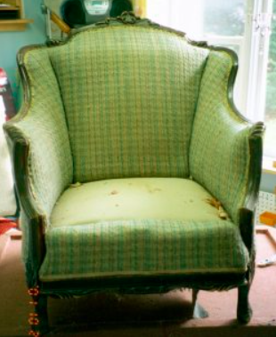 This club chair was found on the side of the road by the client, full of birdseed! The frame was completely refinished and re-glued. The padding was replaced, the cushion was made to fit. Contrasting welt was used to create a more casual feel.