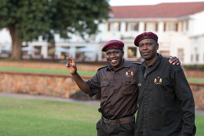 The friendly groundsmen at Vic Fall Hotel Keeping everyone safe at night. The also spotted some Elephants for us outside the fence.
