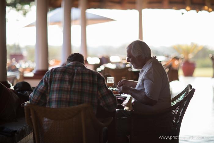 Enjoying an amazing breakfast in rattan chairs in the early morning sun.