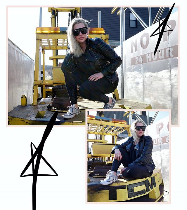 FIVE THINGS: 1. Forklifts are the absolute tits. Who knew!? 2. A leather jacket & sunglasses do wonders when you're in a pinch 3. If you don't follow —  @fashionlush GO creep her IG! She's got a swoon worthy vibe, plus... 4. She's got a bomb *down-low-selfie pose* aka #fashionlushselfiesquat (this is my attempt) 5. @fashionlush You inspire me to stay true to myself! Thanks for being you!—————————————— ⚠️ k, so I shared why I'm crushing on Erica, @fashionlush -now it's your turn! who's your insta crush rn!? -Tag them! Share why! lets spread the love 🖤