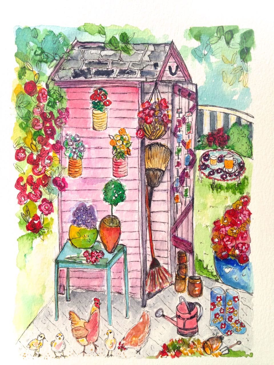 The Potting Shed A4 Signed Fine Art Print Gardening Flowers