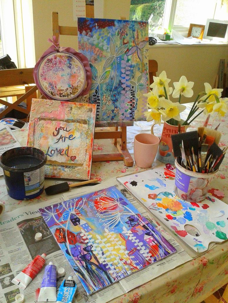 daffodils and painting