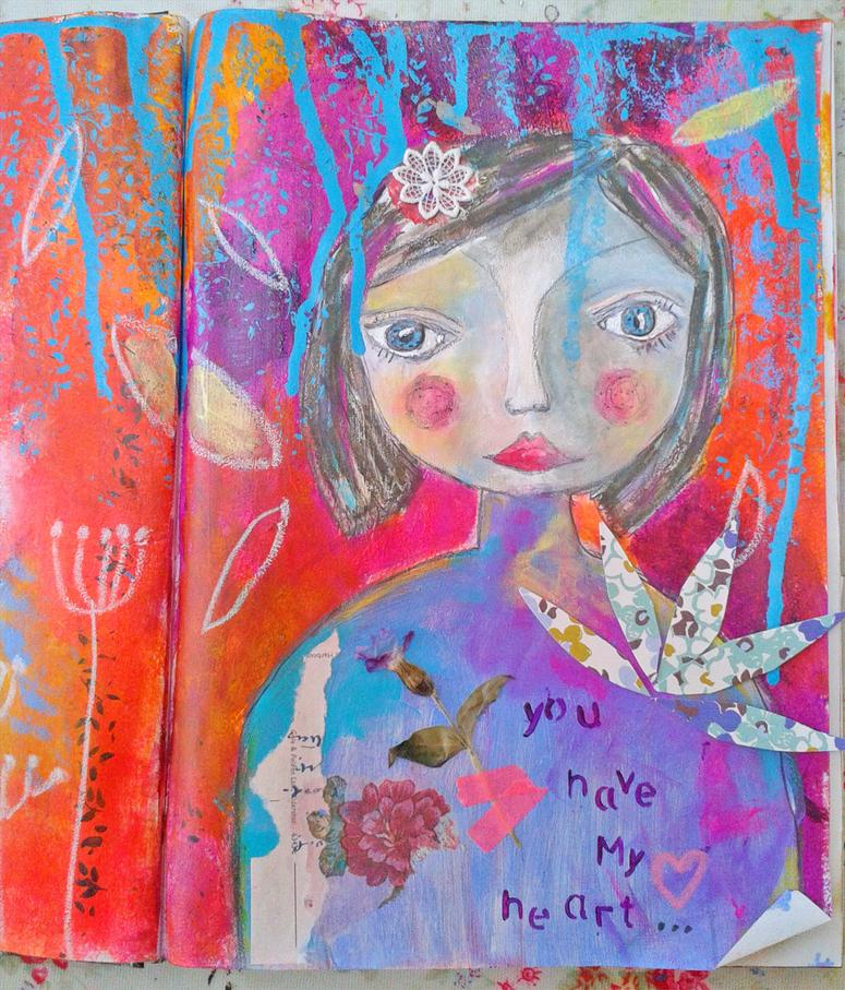 You have my heart - journal page from Delight Art Ecourse