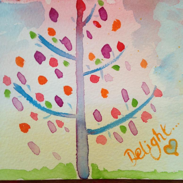 delight watercolour tree