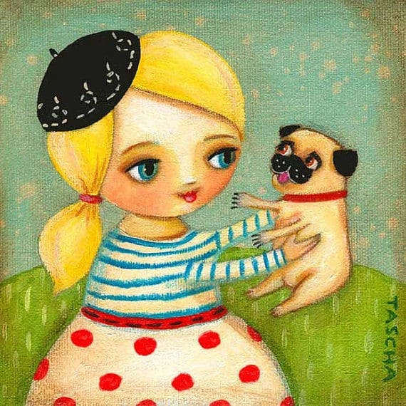 tascha girl with pug