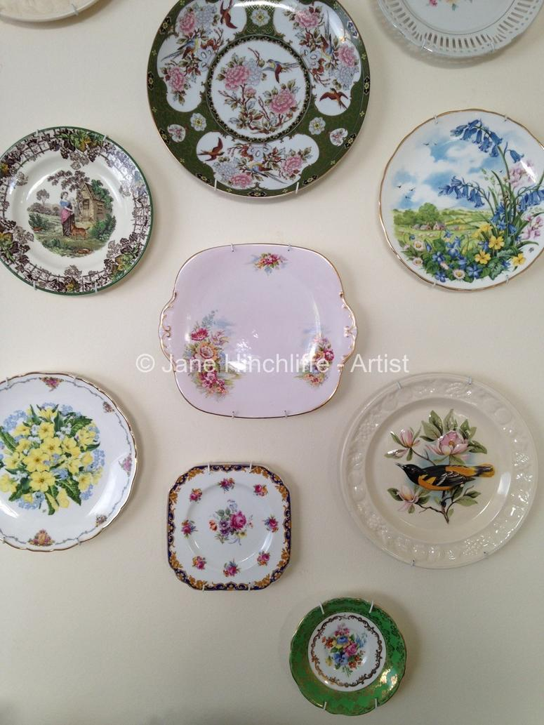 I used plate hangers and brass picture hanging hooks (purchased via eBay) but you may have a different idea. vintage plate display & Finishing Touches - Vintage Plate Display