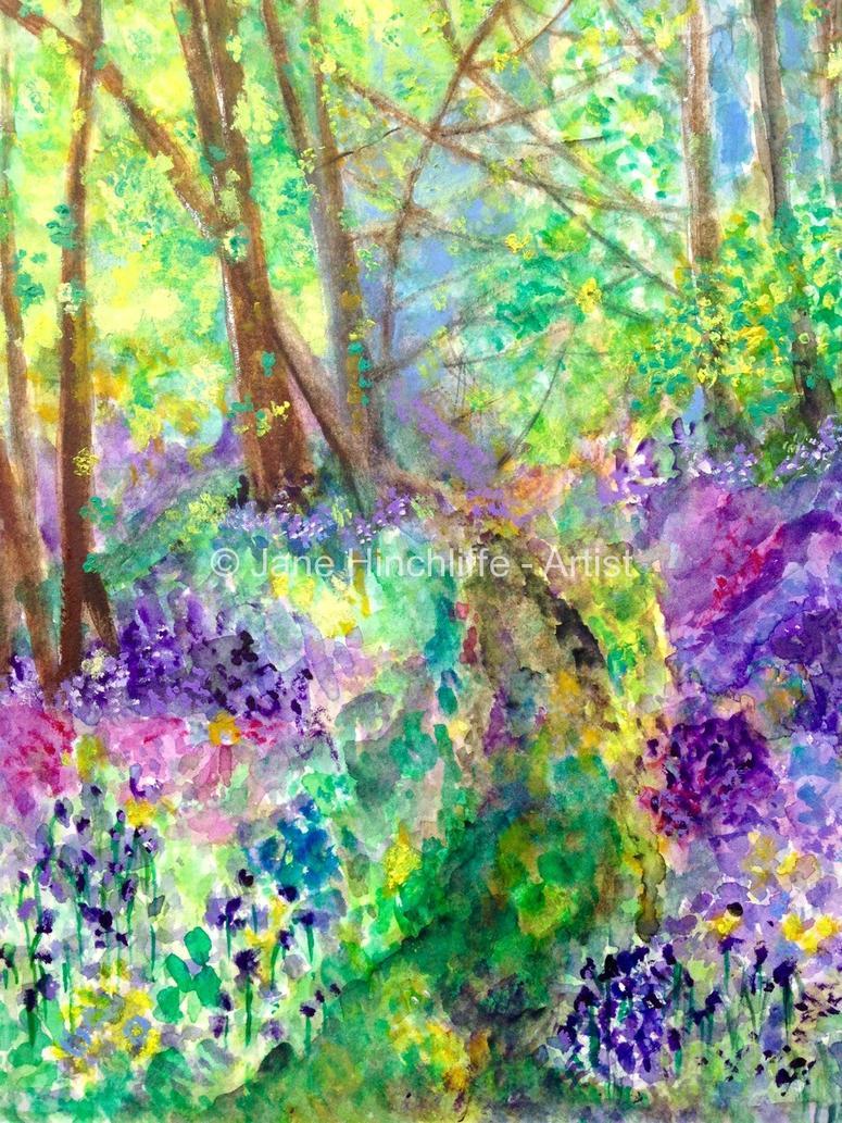 Bluebell flowers original painting