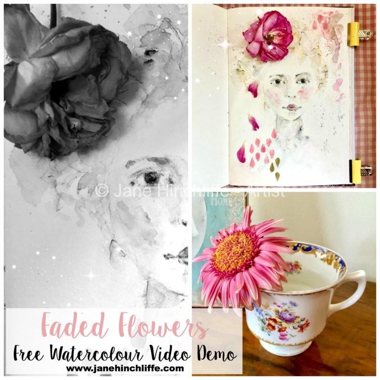 Free! - Faded Flowers Watercolour  - Enjoy this expressive and spontaneous female portrait painting - really pretty!
