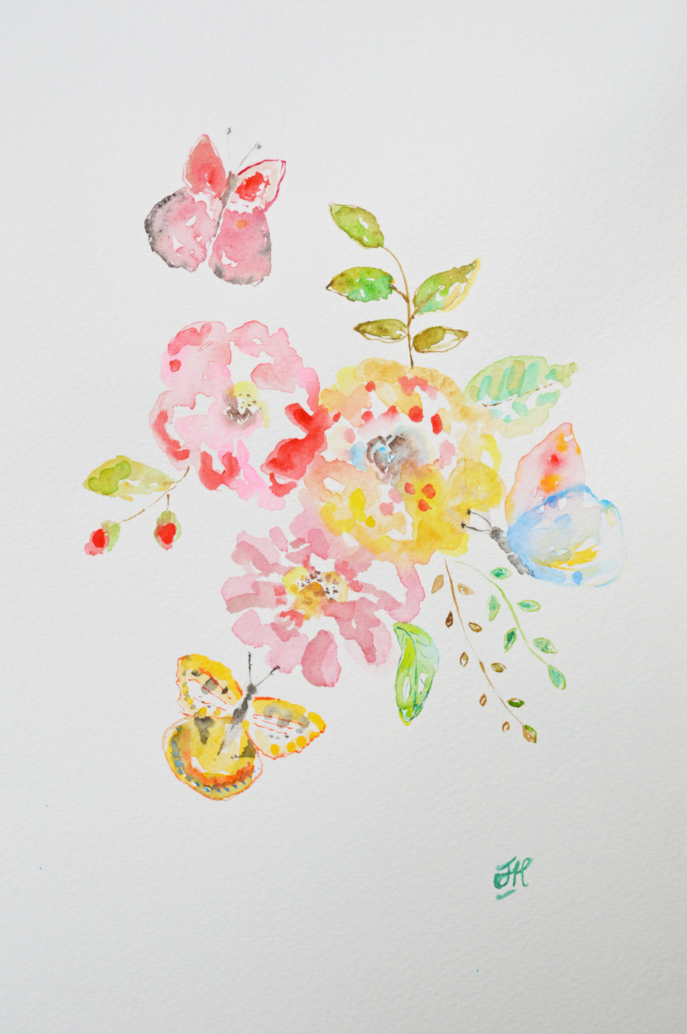 Butterflies and Roses - original watercolour