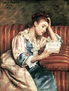 Mary Cassatt - Woman on striped sofa - 1876 (American Artist)