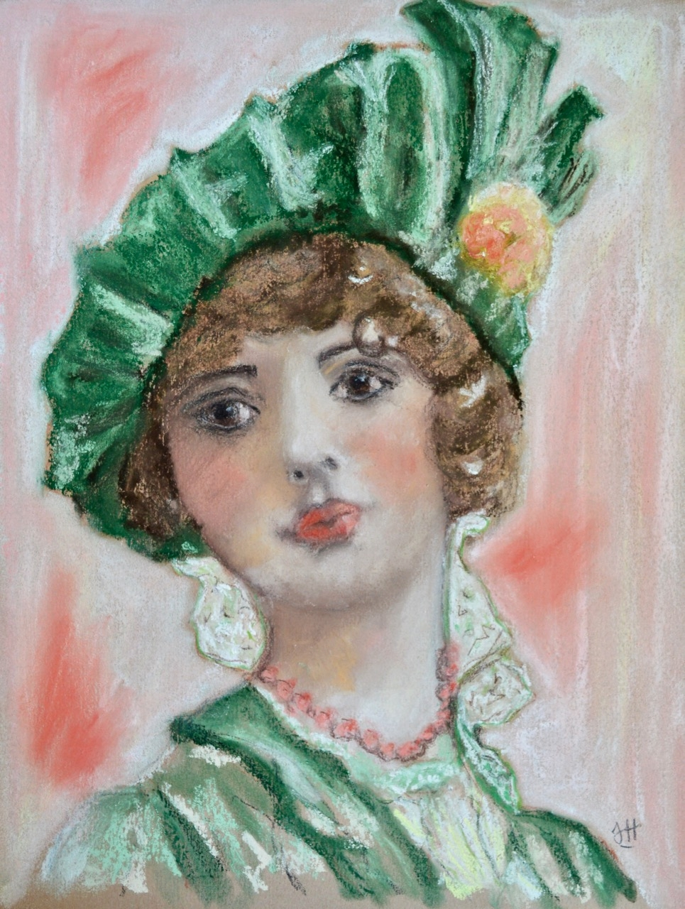 Project 3 - Soft Pastel Portrait On Coloured Pastel Paper - Soft pastel is beautiful to work with and gives a really feminine touch to your piece - ideal for this period in time and those beautiful outfits.  Don't you just love this style of hat?