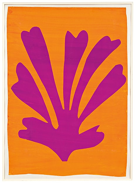 Matisse's Violet Leaf on Orange Background (1947). Photograph: © Succession Henri Matisse/DACS 2014
