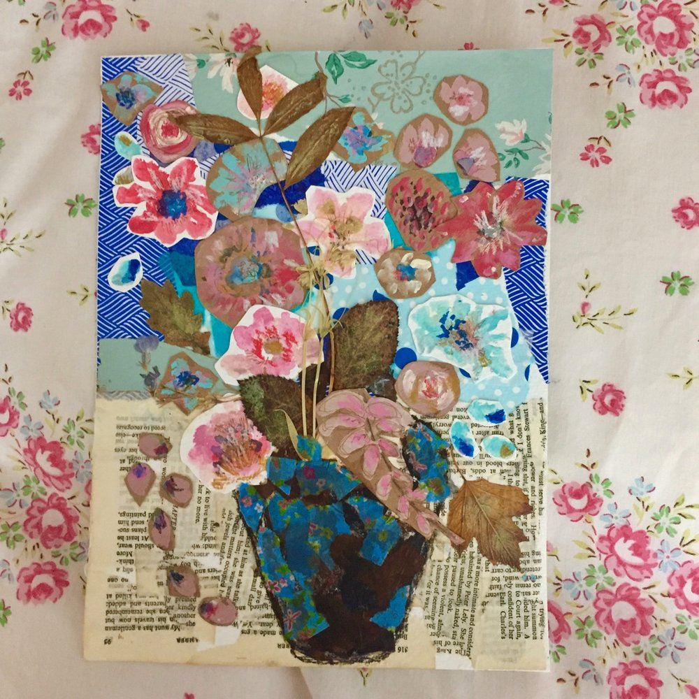 Free Flower Collage Painting - For Newsletter Subscribers Only!...Enjoy this FREE lesson from my online collage class called, Fragments Of Joy.