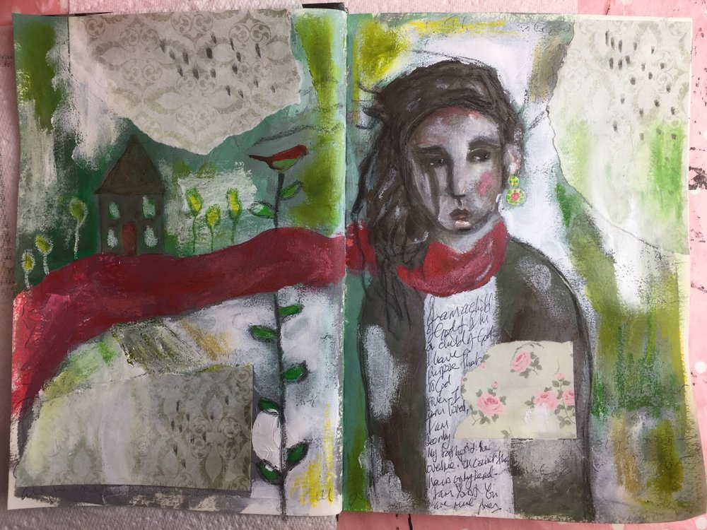 Here's the finished piece. Art journaling is a wonderful way to bare your soul, get messy + then feel so good after…